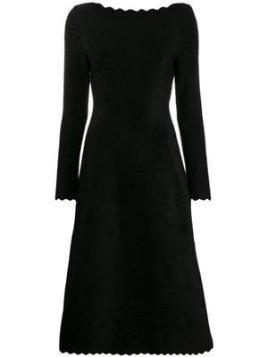 Long Sleeve Scalloped Midi Boatneck Dress