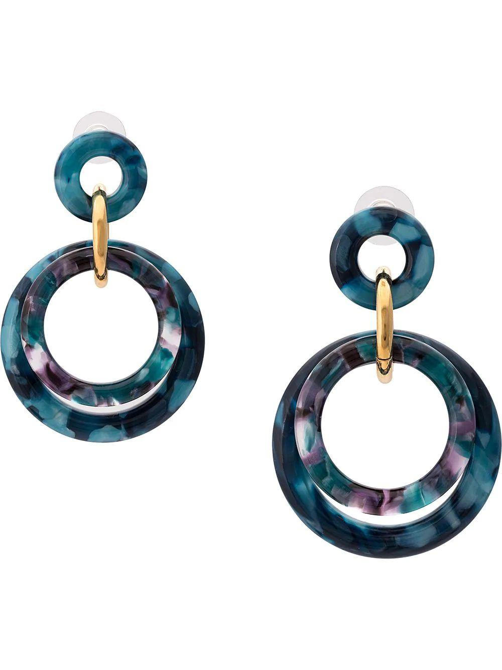 Golden Double Ring Earring Item # LS0755TE