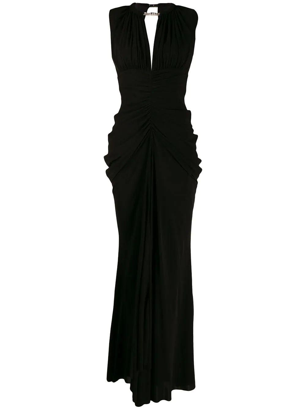 Sleeve Less Ruched Front Jersey Gown With Necklace