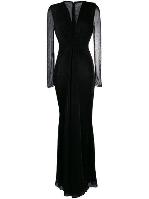 Long Sleeve Vetallic Voile Gown With Front Slit