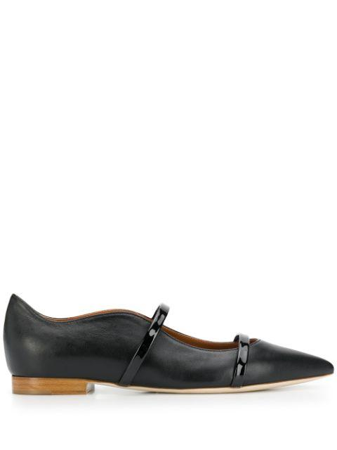 Nappa Patent 2 Strap Point Toe Flat