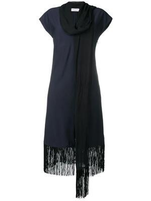 Dress With Fringe Drape