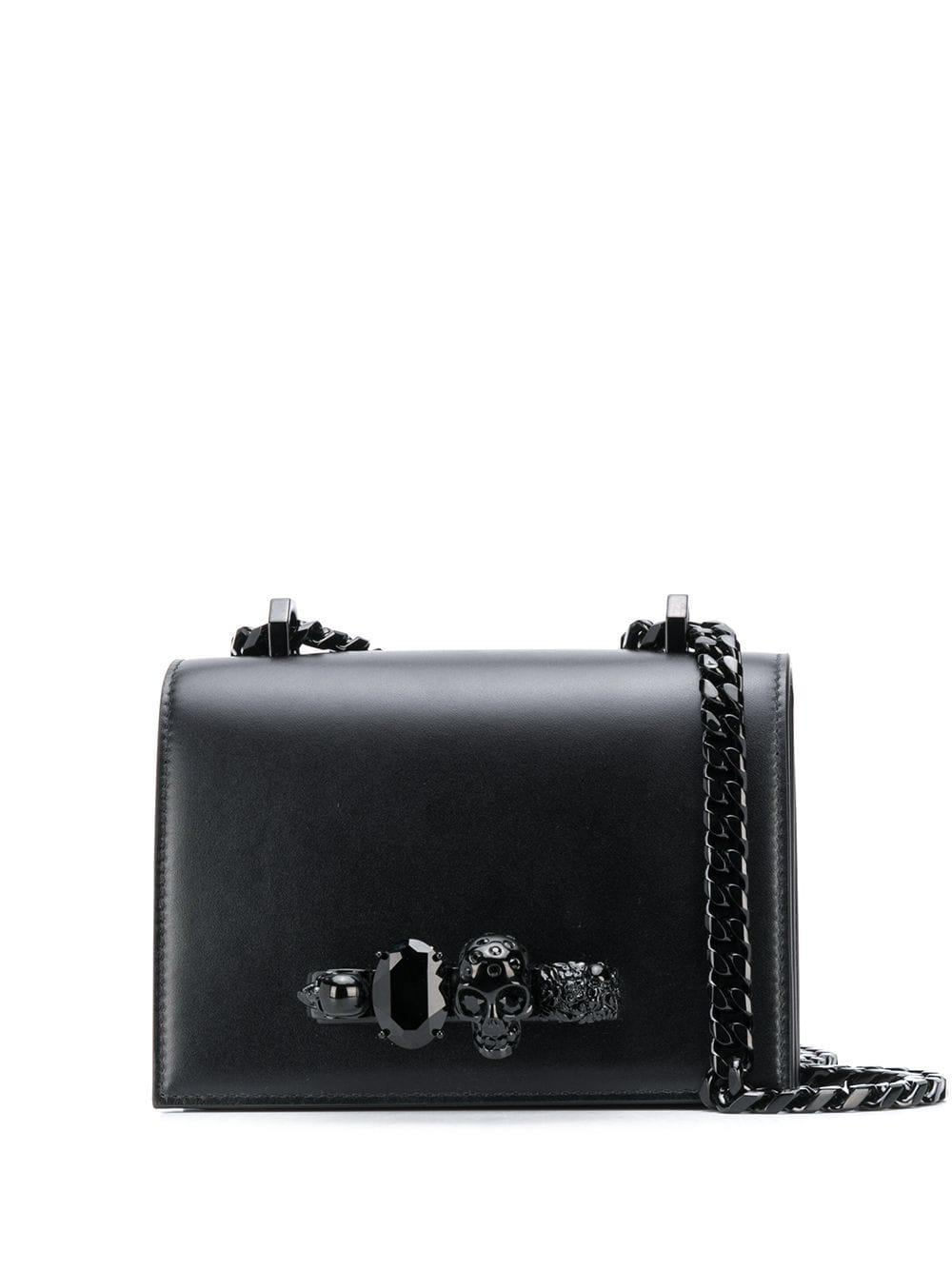 Leather Small Jeweled Handbag With Chain