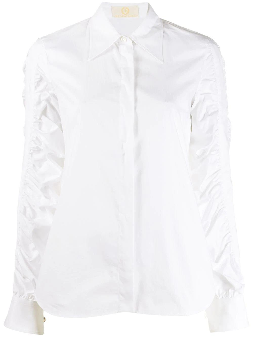 Long Sleeve Button Up Shirt With Ruched Sleeves