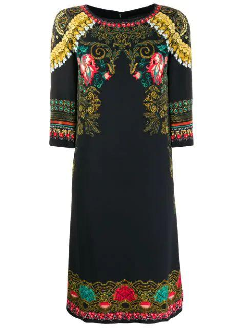 3/4 Sleeve Cady Shift Dress With Floral Top