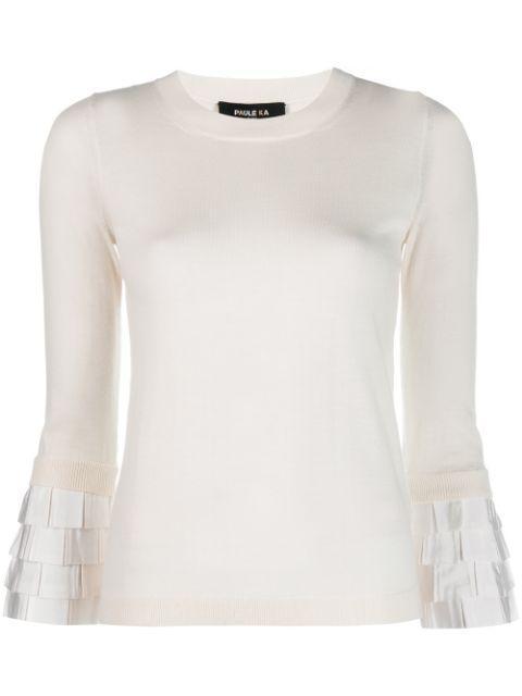 Long Sleeve Merino Pullover Top With Ruffle Cuff Item # 401/PU34