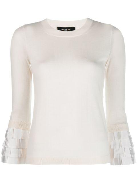 Long Sleeve Merino Pullover Top With Ruffle Cuff