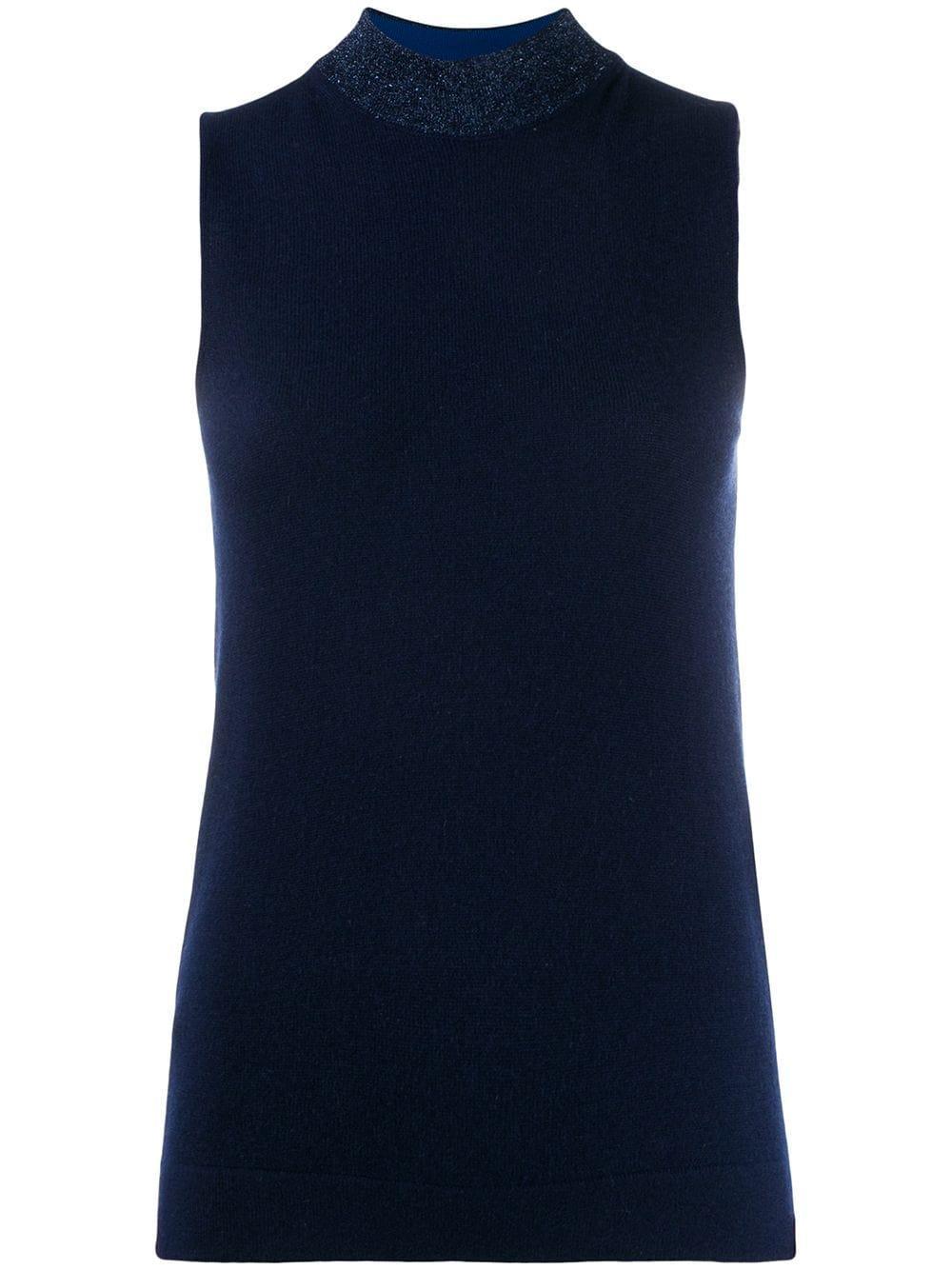 Sleeve Less Mock Neck Cashmere Top Item # MDN00210-BK007W