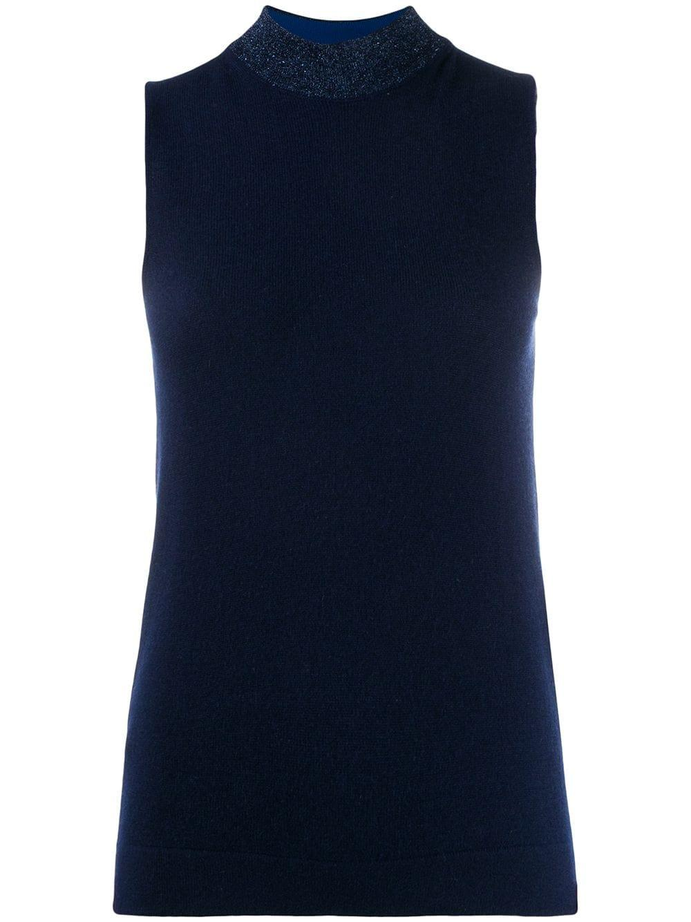 Sleeve Less Mock Neck Cashmere Top