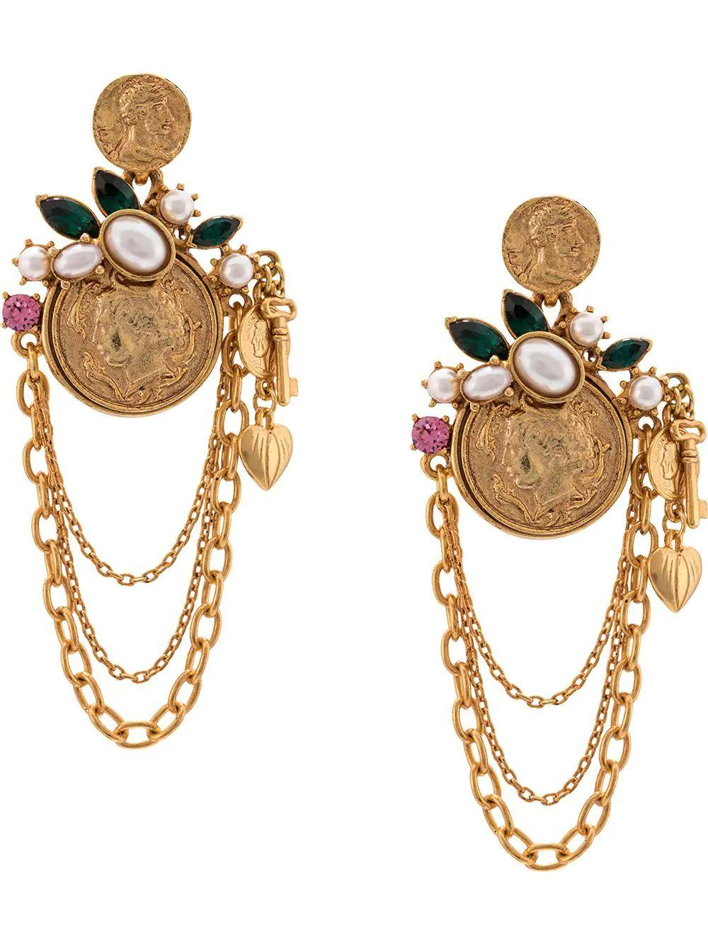 Coin/Charm Earring W/Chain Item # F19J112