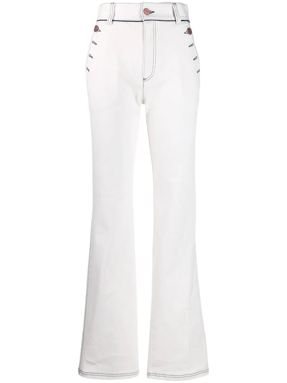 High Rise Boot Cut Denim With Buttons at Hem