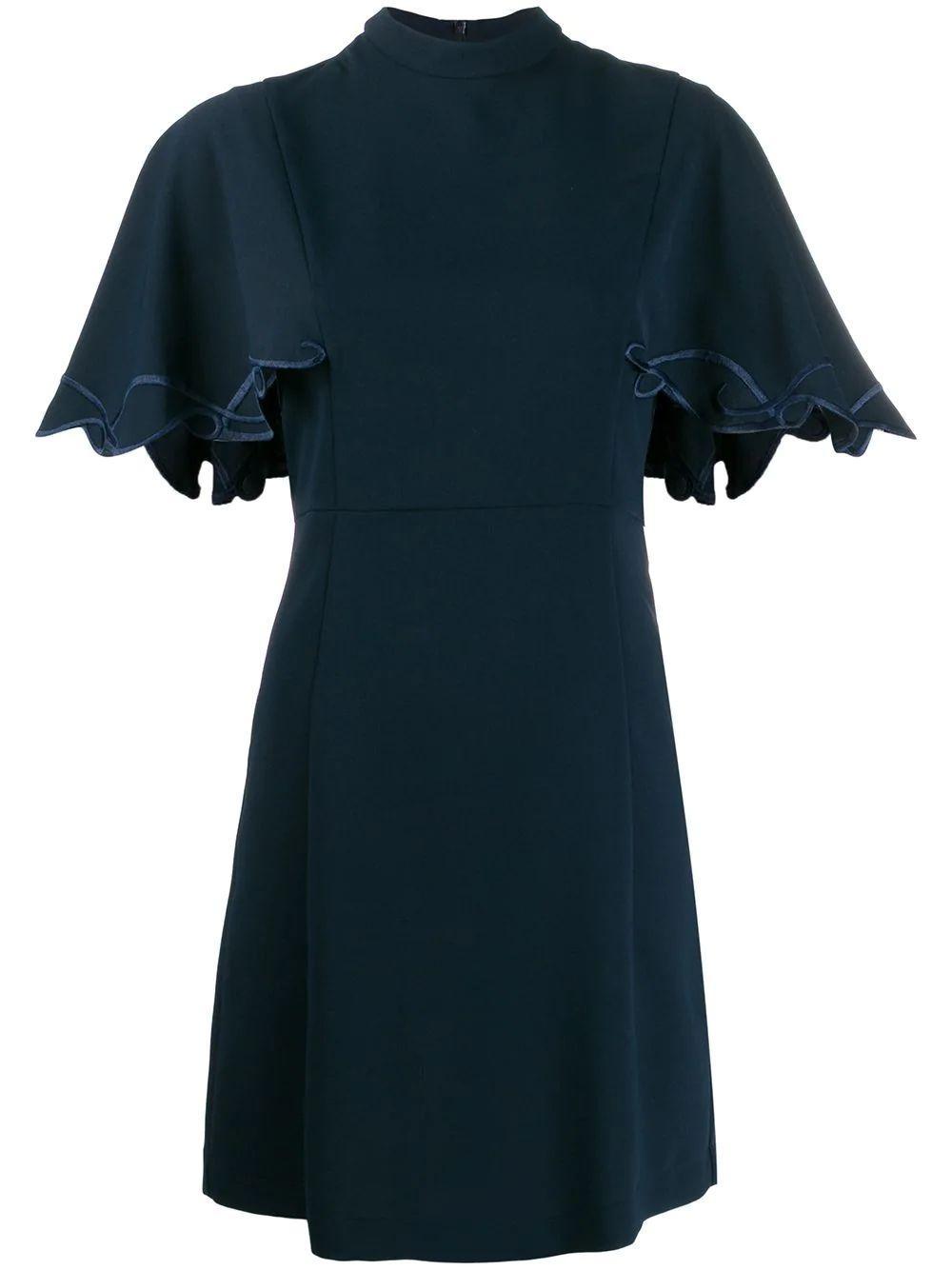 Mock Neck Shift Dress With Ruffle Sleeve