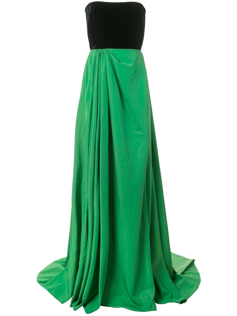 Dalton Velvet And Taffeta Strapless Gown Item # D515