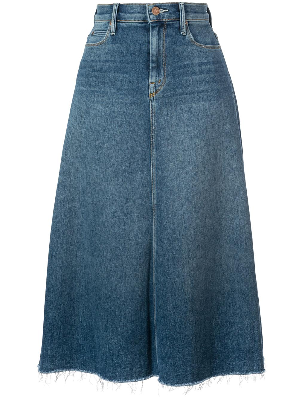 The Circle A-Line Denim Fray Midi Skirt