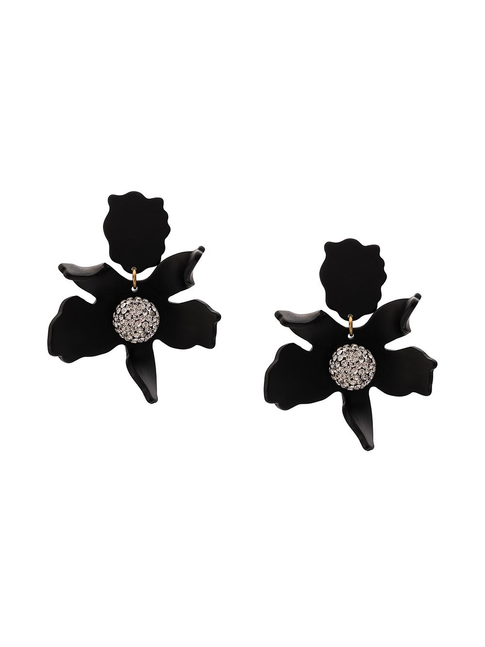 Crystal Lily Clip On Earrings