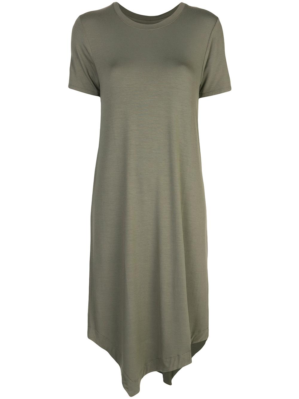 Short Sleeve Crew Asymmetrical Dress Item # M001-FRO059