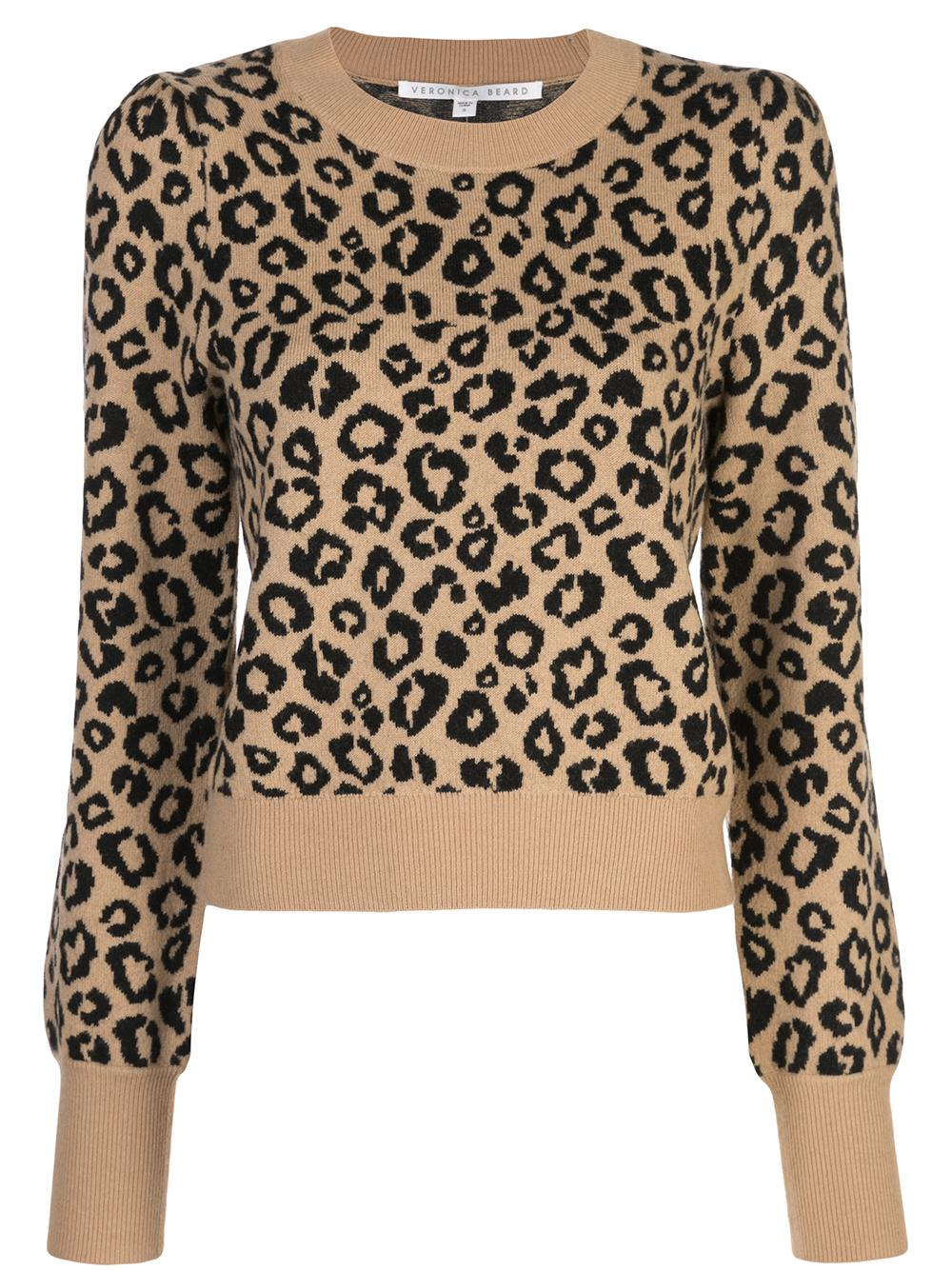Penny Long Sleeve Leopard Print Knit Pullover