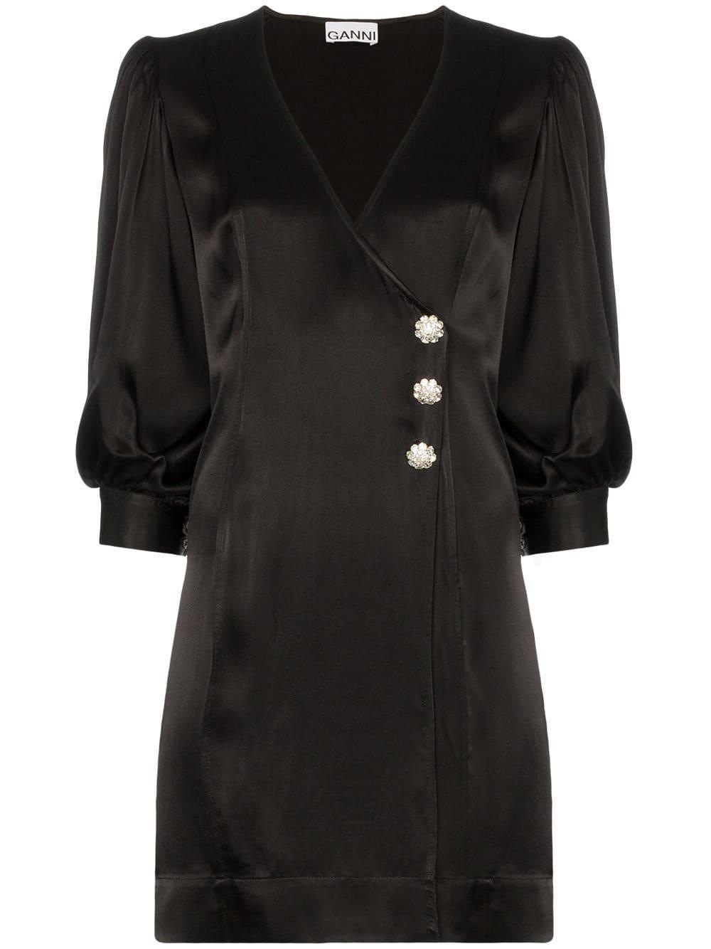 Heavy Satin Wrap Button Front Short Dress Item # F4044