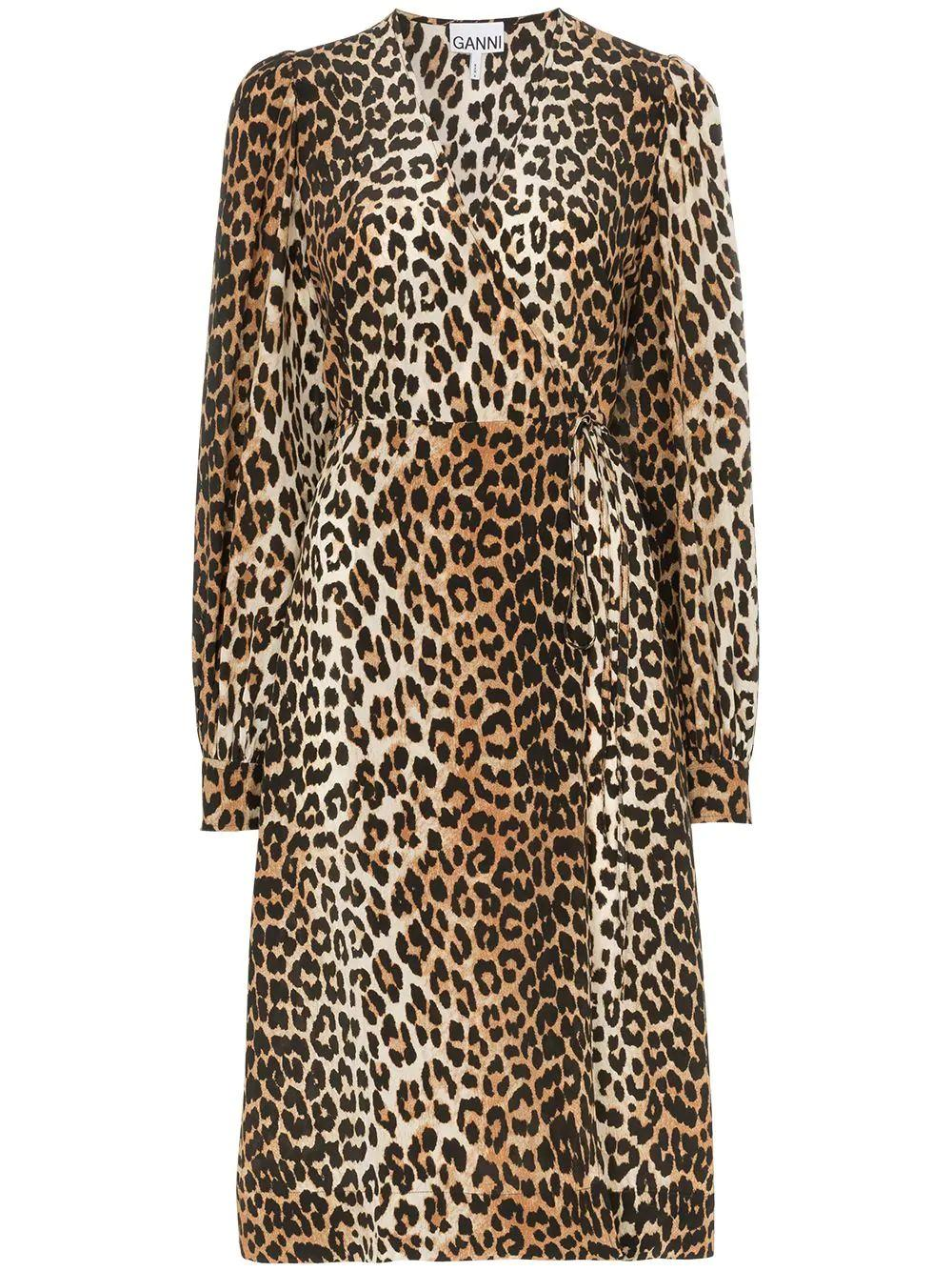 Animal Print Longsleeve Midi Dress Item # F4038