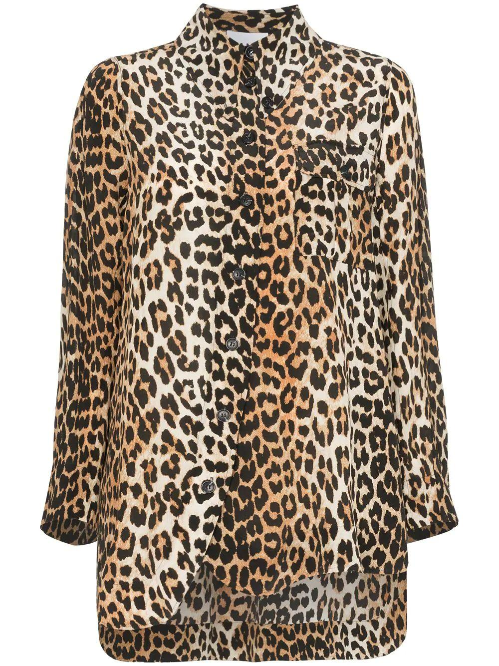 Animal Print Front Pocket Silk Mix Blouse Item # F3887