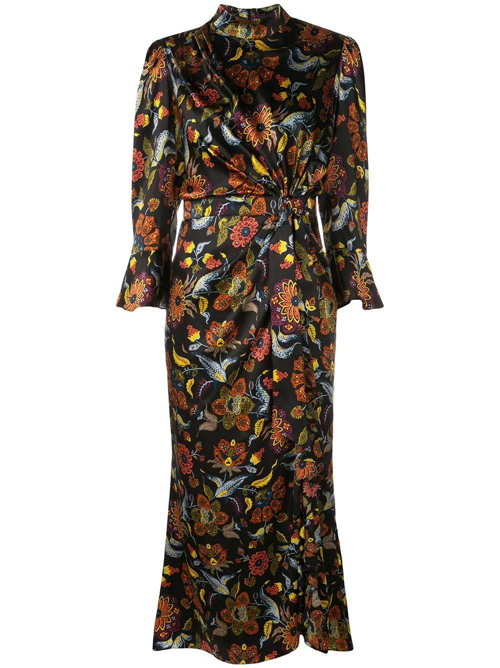 Juliana Paisley Print 3/4 Sleeve Gown Item # ZD9743097Z