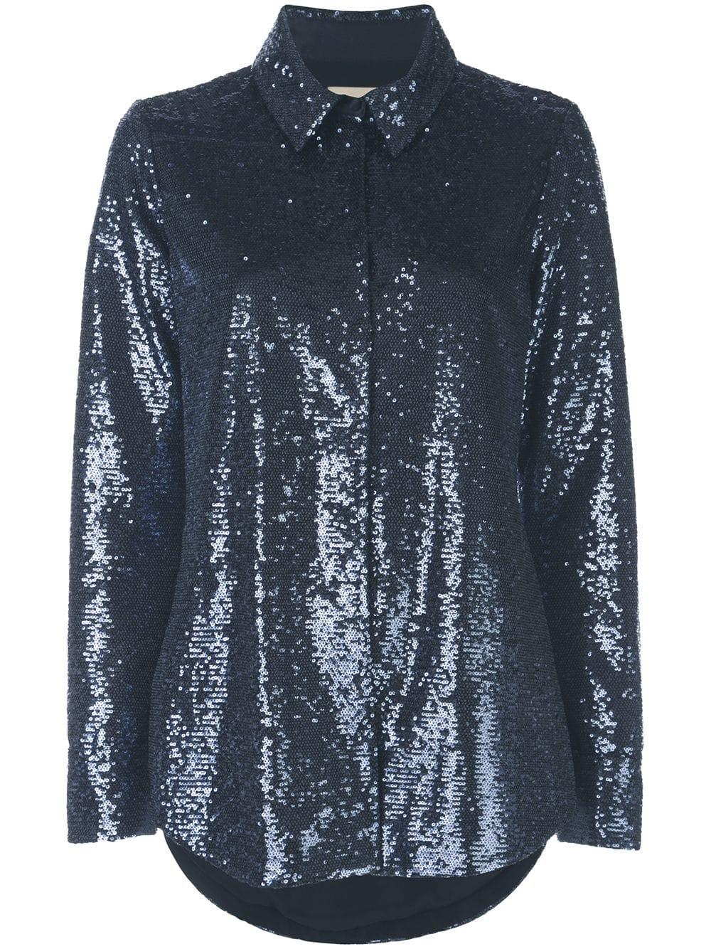 Isha Sequin Buttondown Top