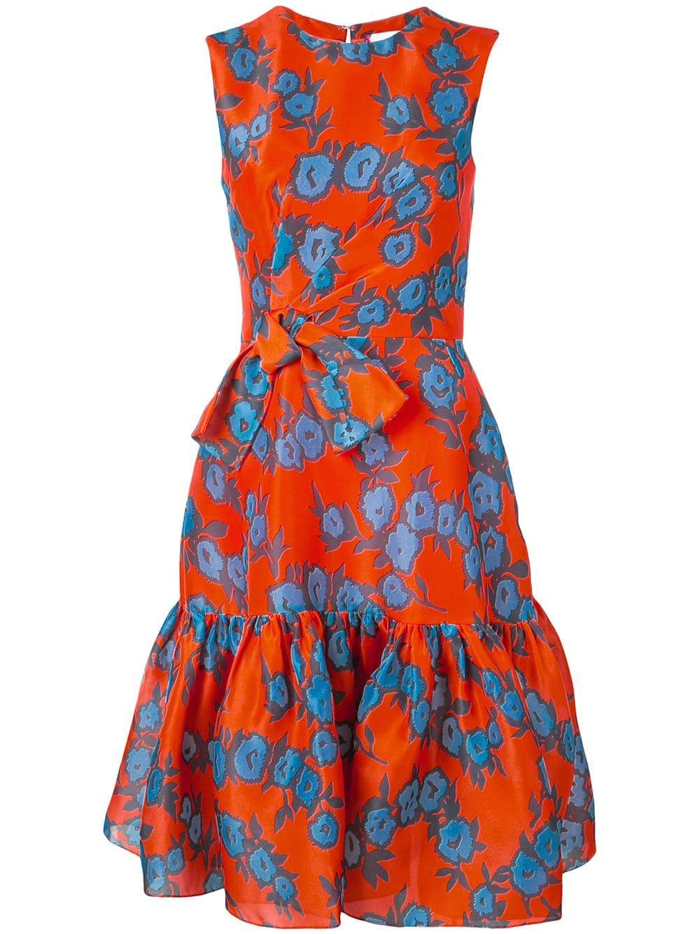 Sleeve Less Printed Fit Flare Dress With Bow