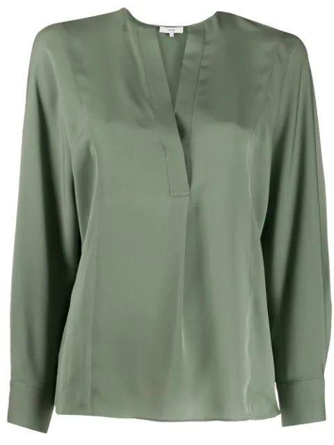 Half Placket Long Sleeve Blouse Item # V616112239
