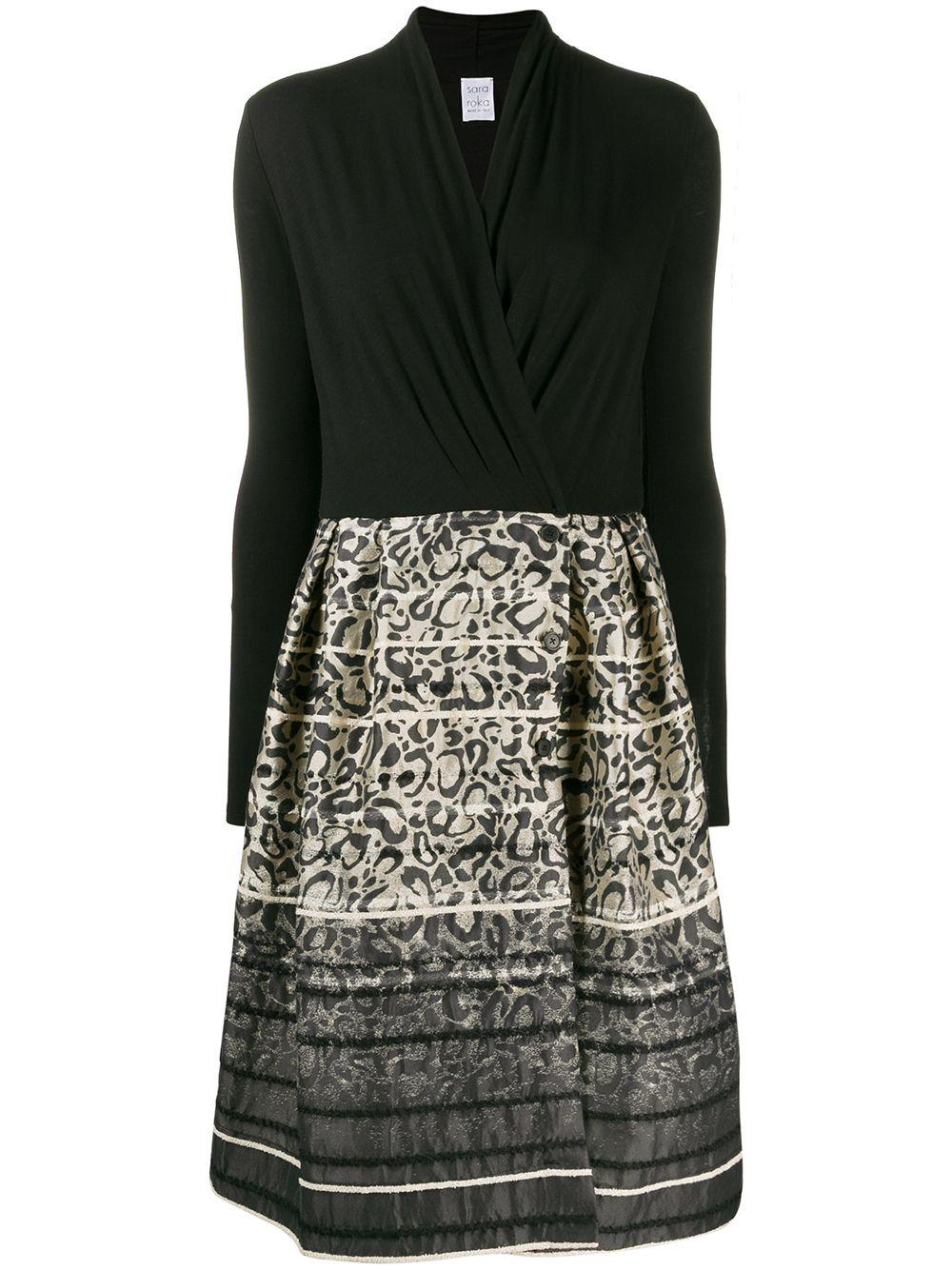 Long Sleeve Wrap Top Dress With Animal Printed Skirt