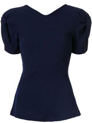Short Sleeve Twist Sleeve Open Back Knit Top