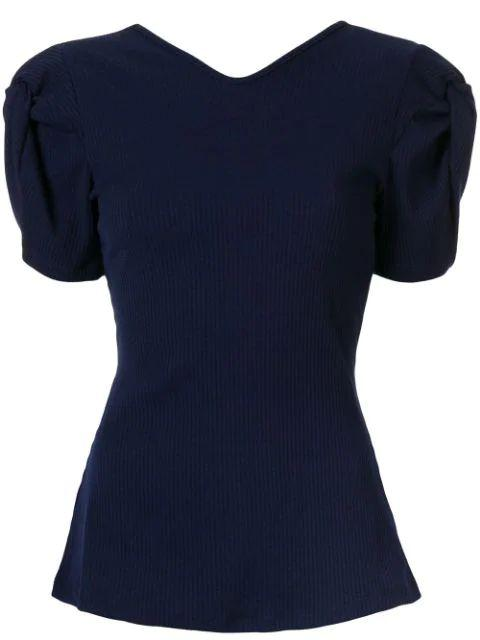 Short Sleeve Twist Sleeve Open Back Knit Top