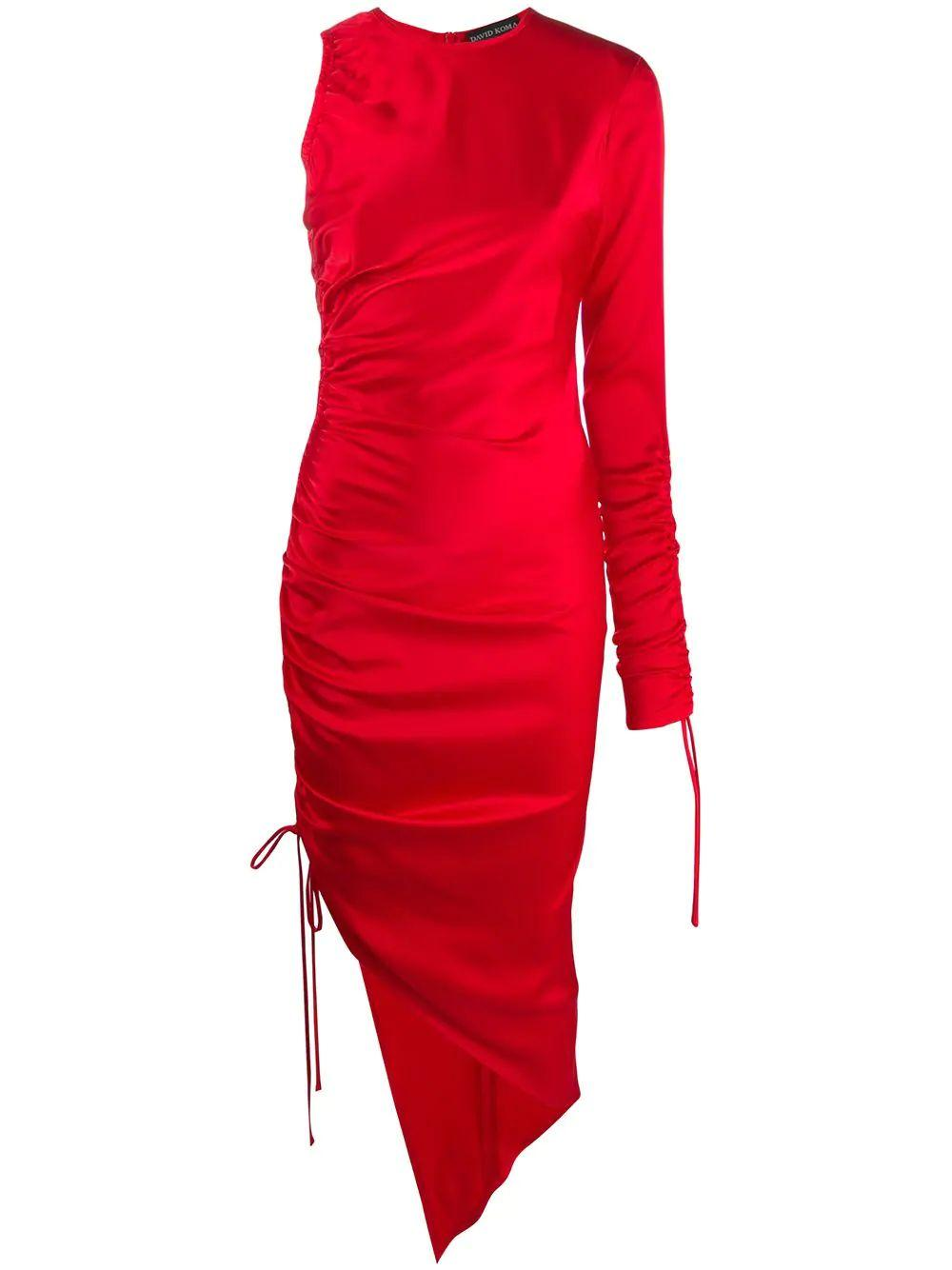 One Long Sleeve Ruched Side Satin Dress