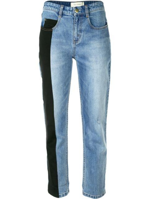 Distressed Jean With Black Side Panel