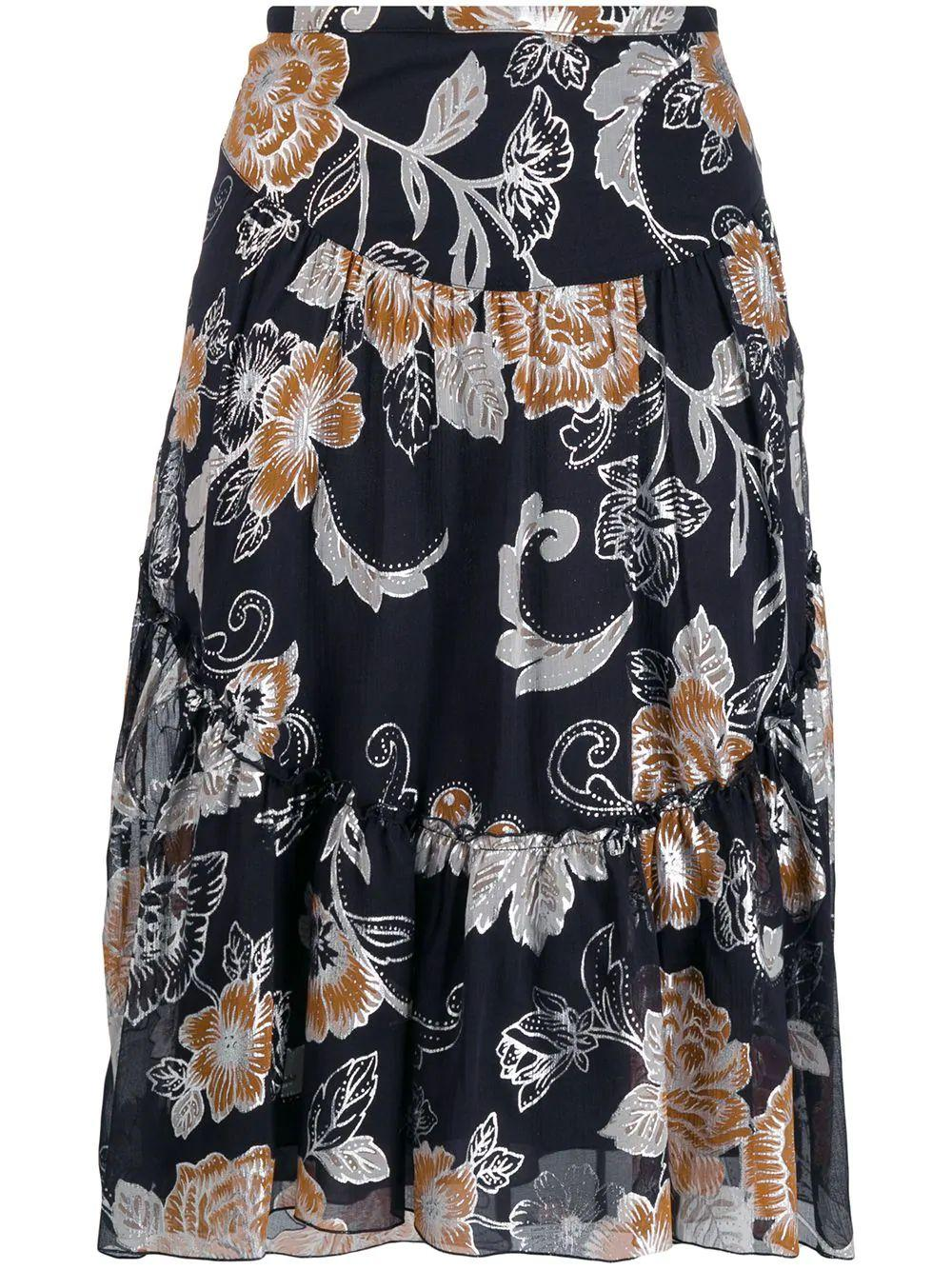 Floral Jacquard Print Skirt Item # CHS19AJU05022
