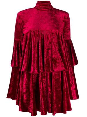 Long Sleeve Velour Tiered Mini Dress