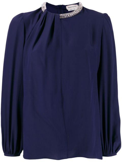 Long Sleeve Silk Drape Blouse With Crystal Neck DTL