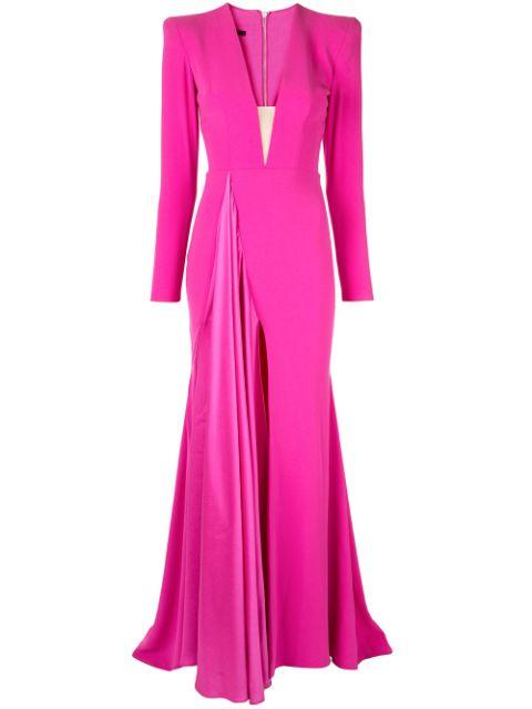 Lindy V Neck Drape Gown