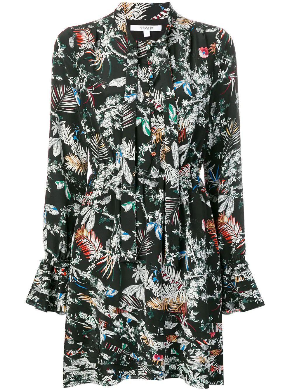 Long Sleeve Ruffle Hem Dress With Button Detail