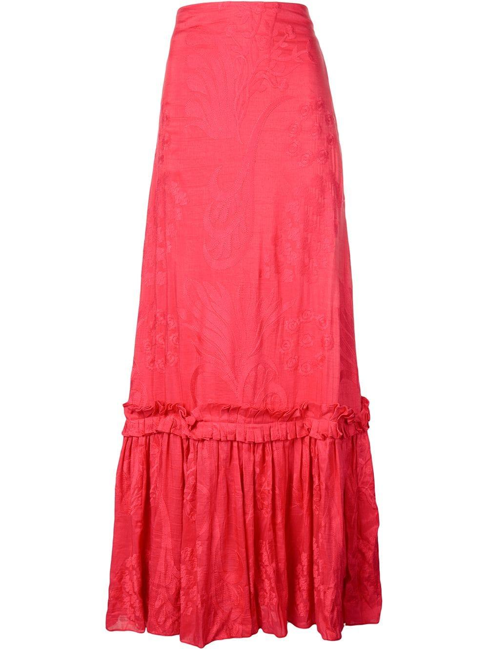 High Waisted Lace Maxi Skirt Item # A21909225443