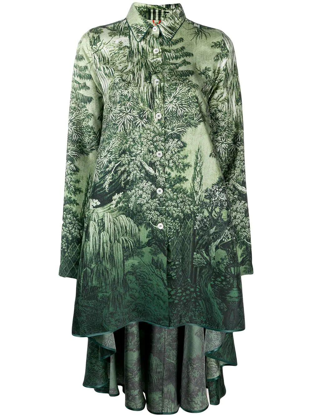 Long Sleeve Asymmetrical Printed Shirt Dress