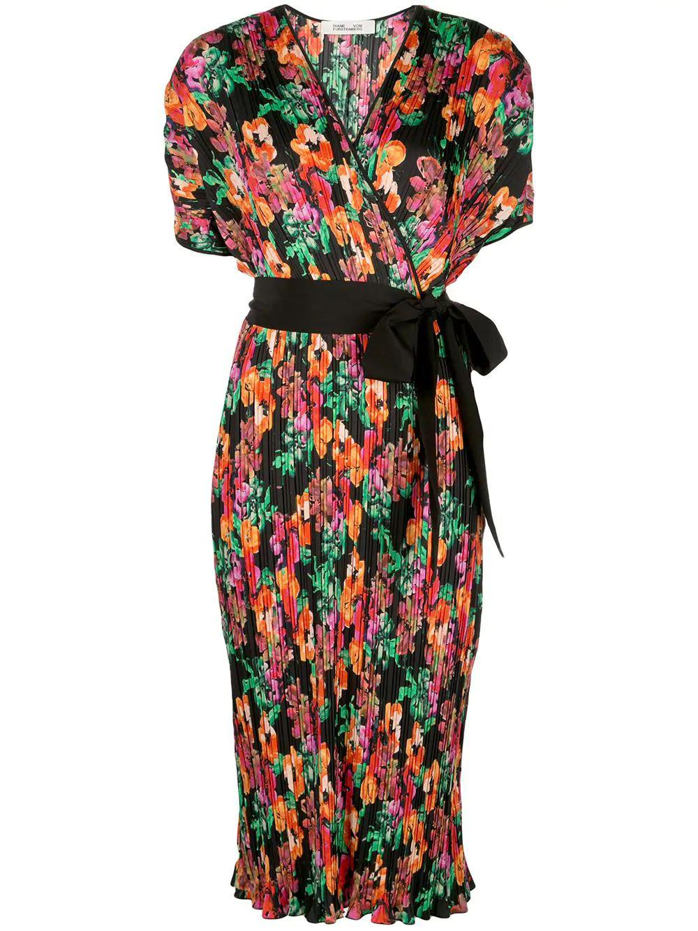 Autumn Floral Belted Midi Dress