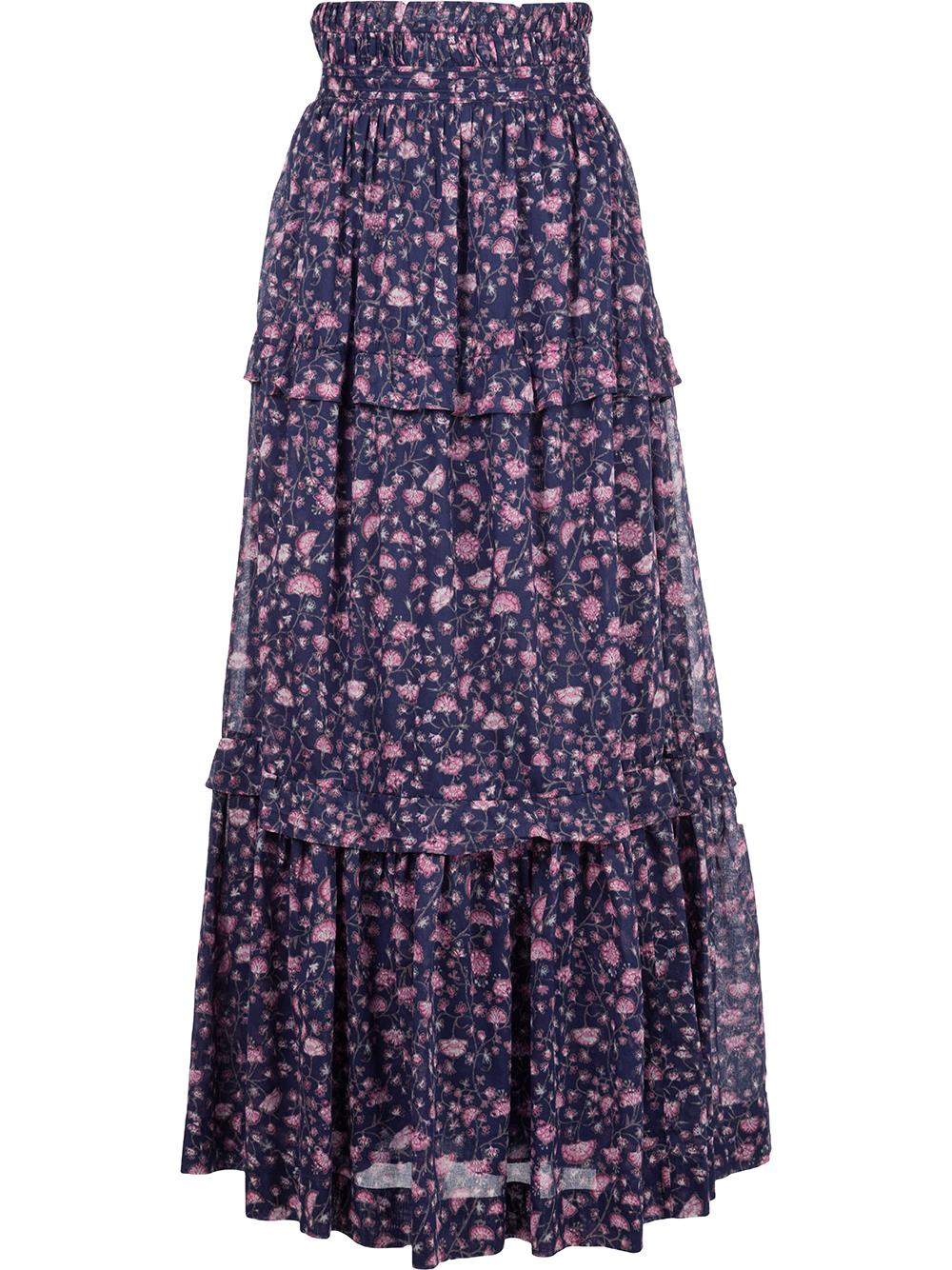 Printed Cotton Tiered Skirt Item # LINEKA