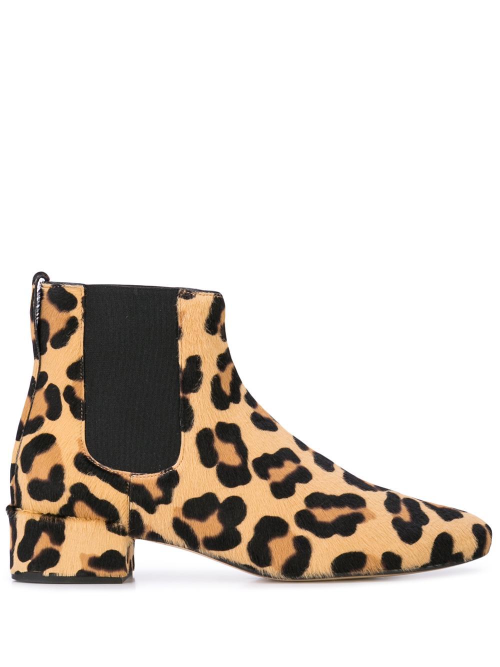 Leopard Round Toe Low Heel Bootie