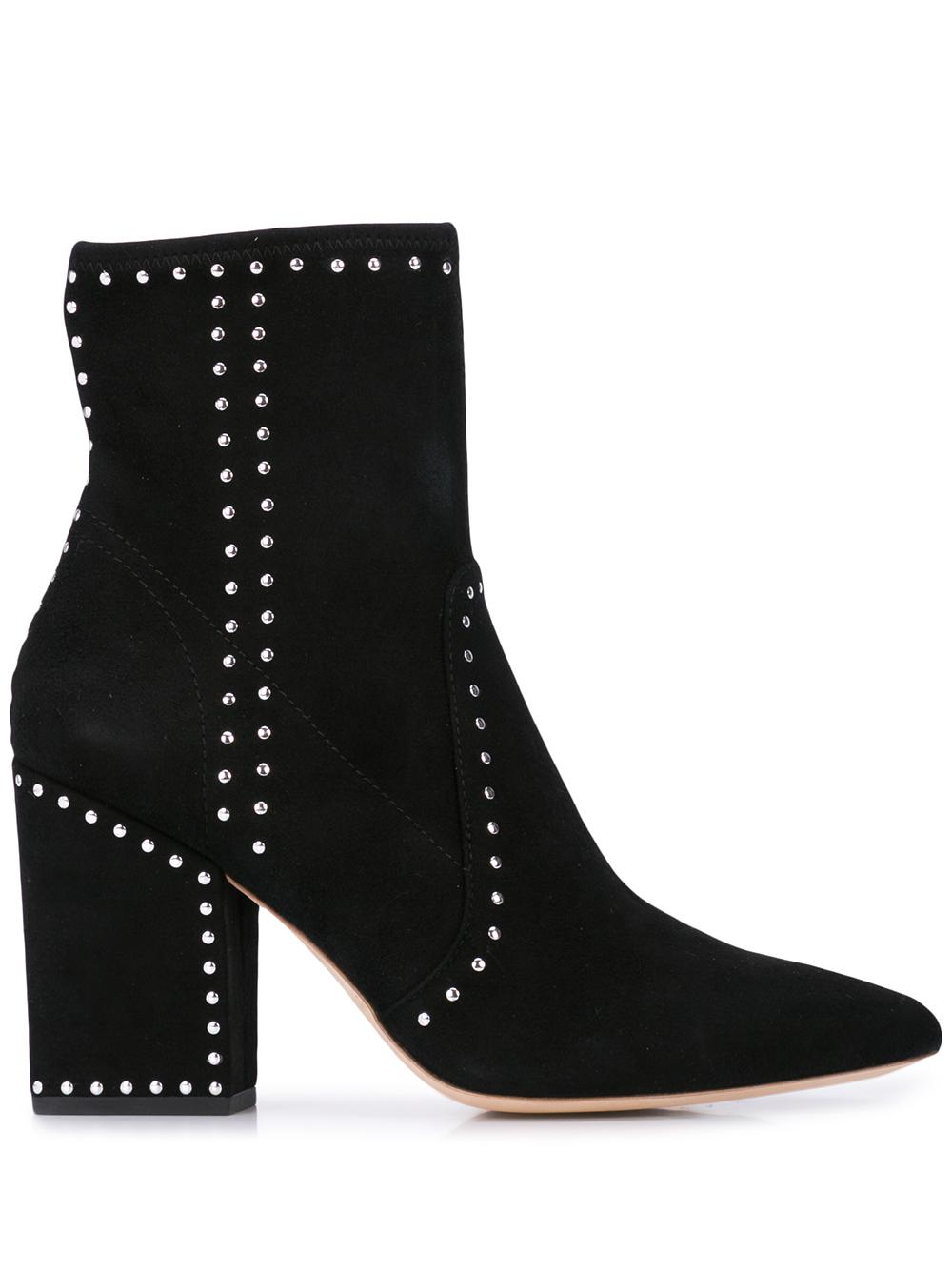Slim Ankle Bootie With Chunky Heel Studs
