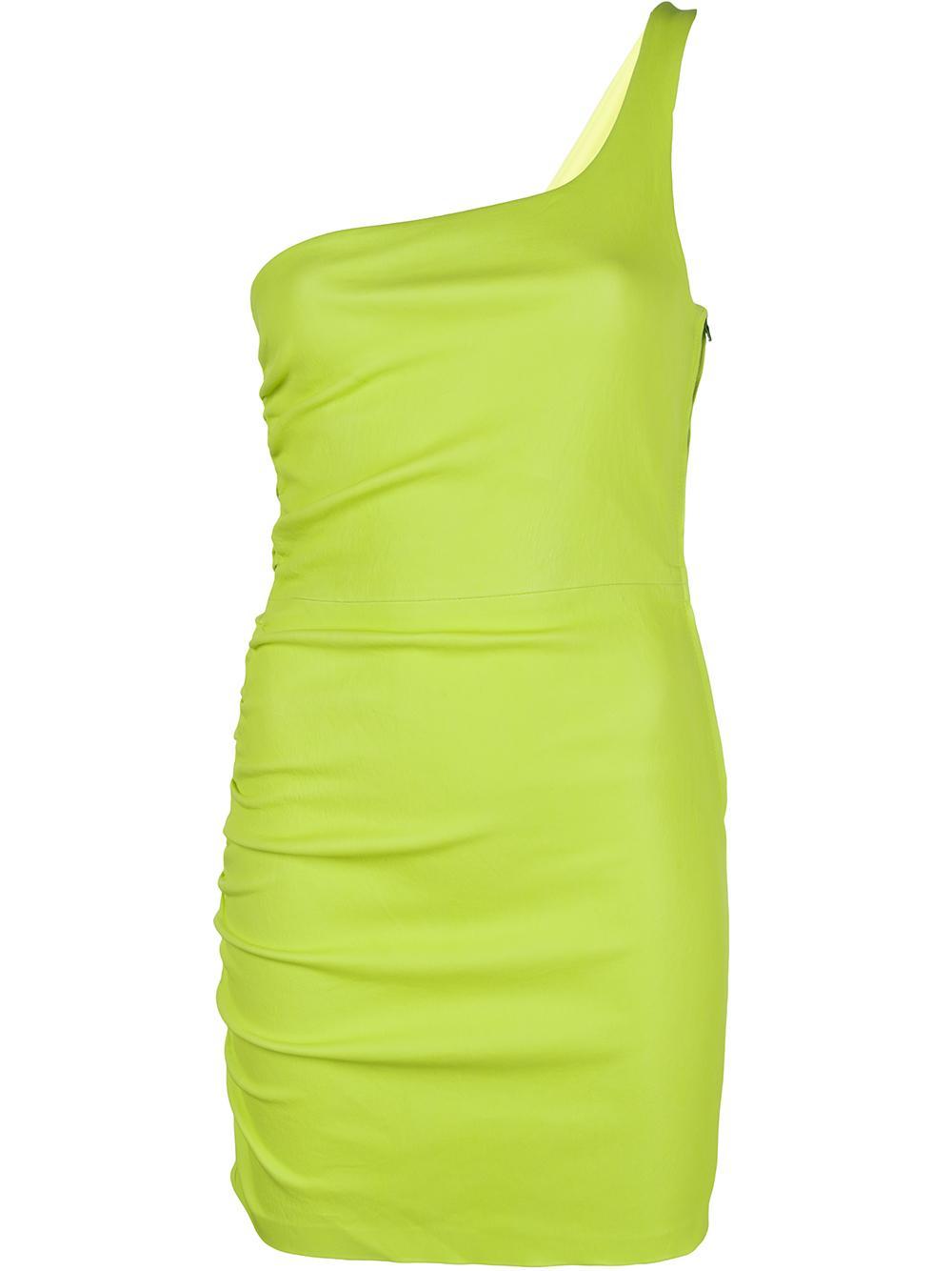 One Shoulder Leather Stretch Mini Dress Item # DRS006L