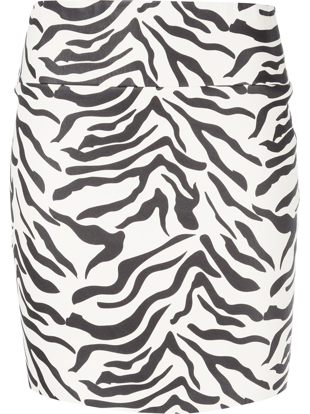 Zebra Print Leather Stretch Mini Skirt