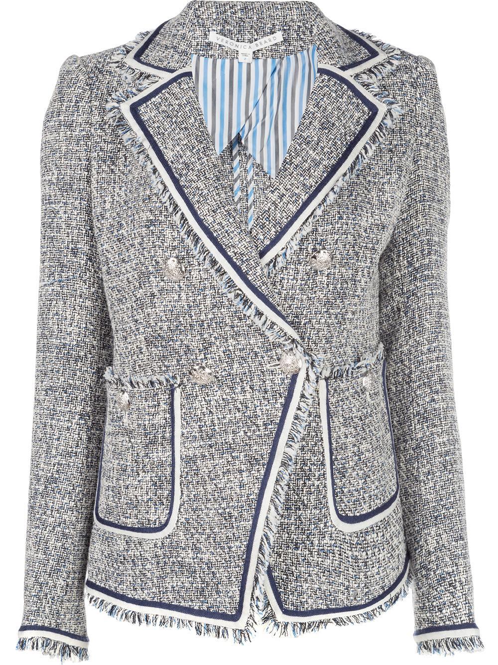 Theron Tweed Jacket With Fringe Hem
