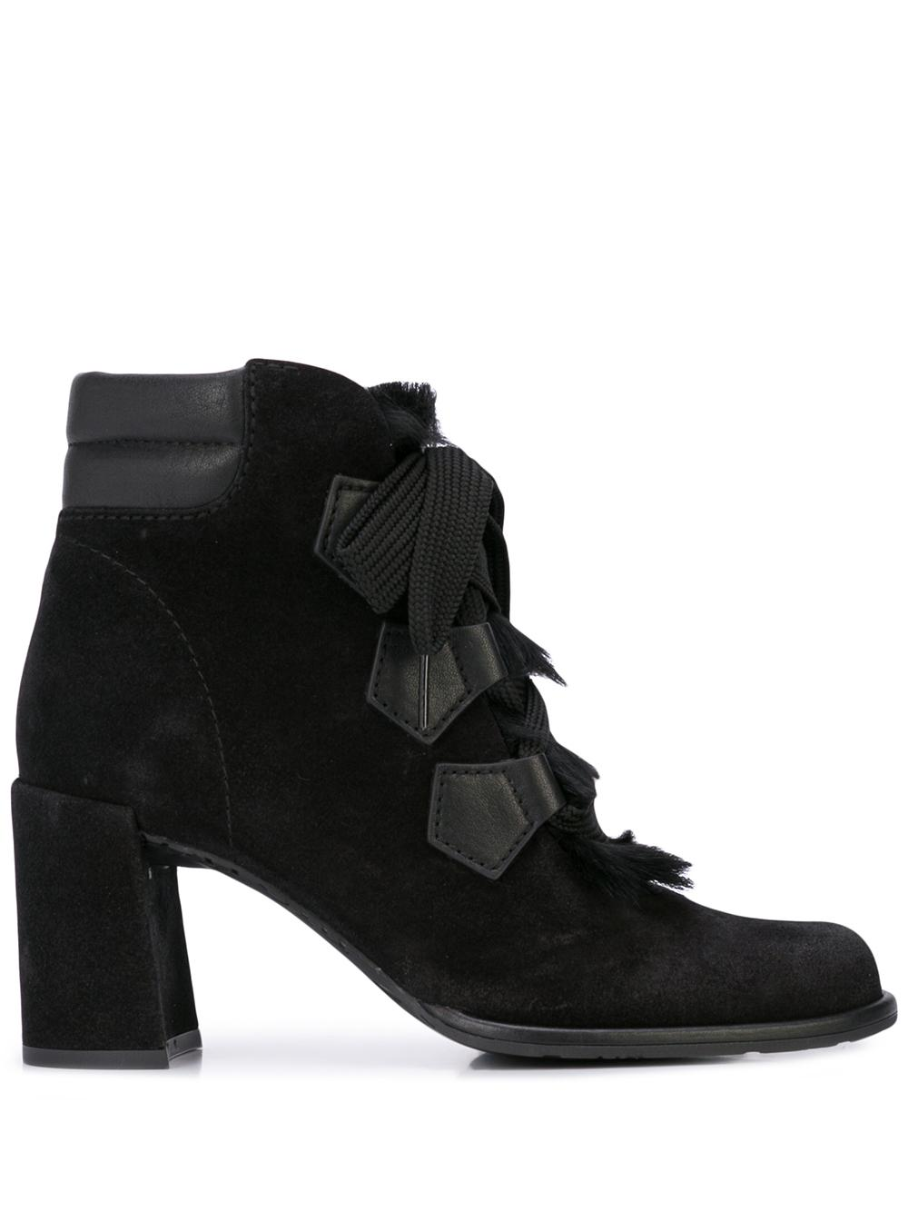 Suede Fur Lace Up Bootie With  Block Heel