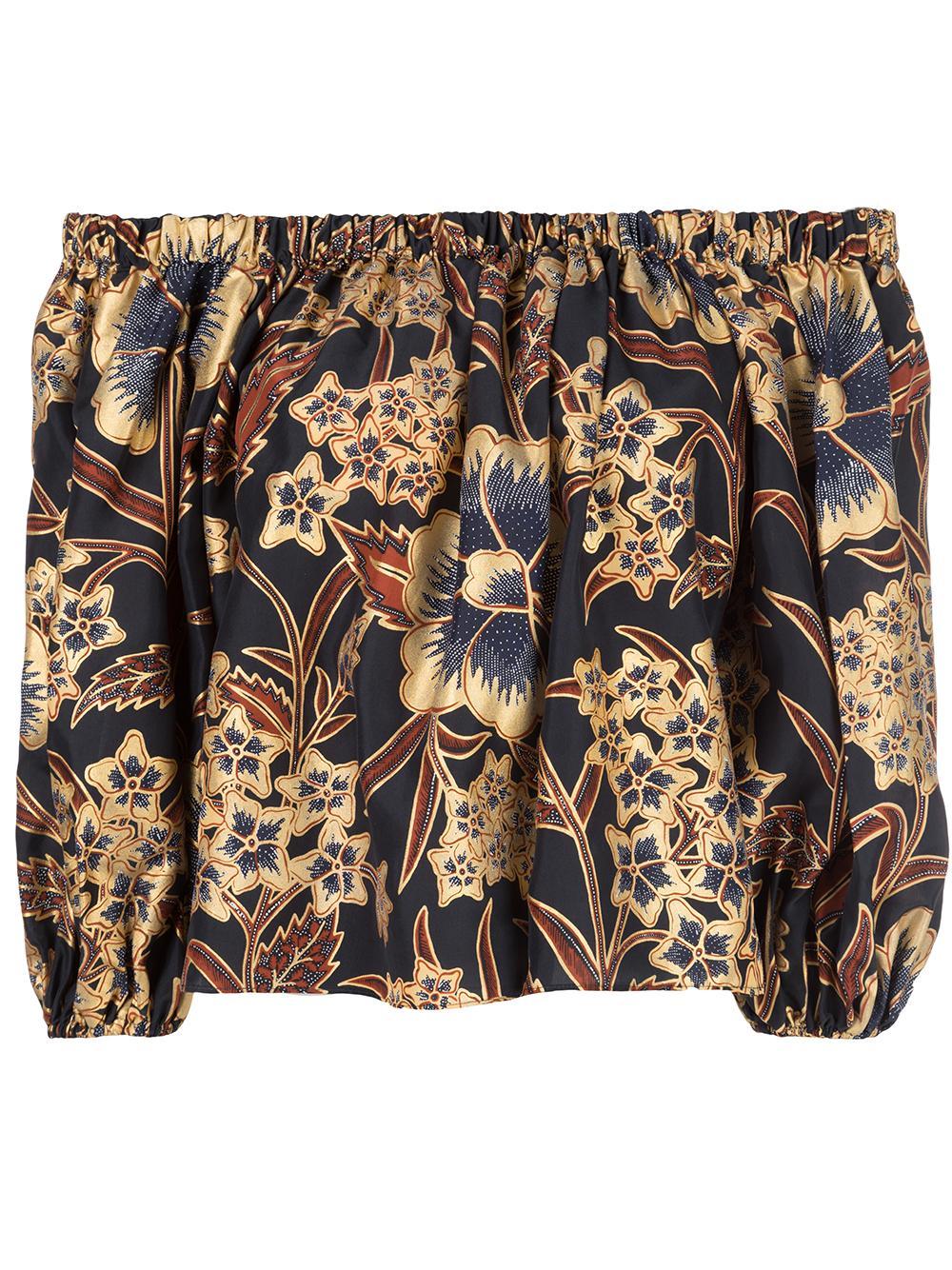 Amoy Glided Floral Silk Off Shoulder Top Item # FA190245