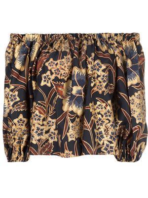 Amoy Glided Floral Silk Off Shoulder Top